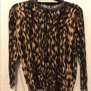 Jones New York Leopard cardigan with beaded collar